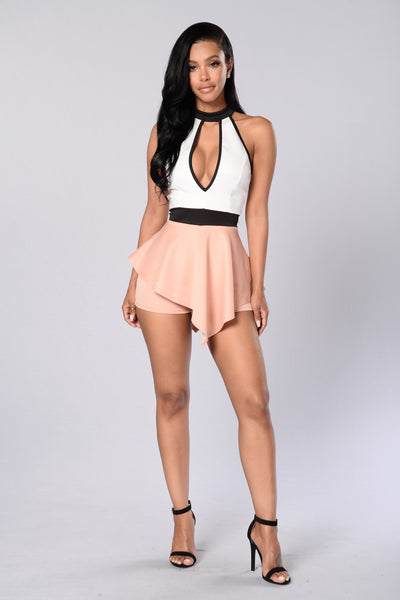 Young and Free Romper - Ivory/Mauve