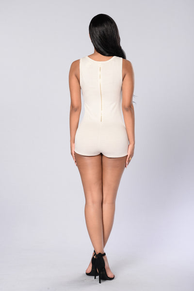 Let's Get in Formation Romper - Cream