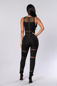 Mesh Zipper Jumpsuit - Black