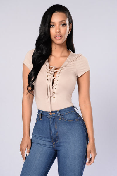 Sammie Lace Up Bodysuit - Mocha