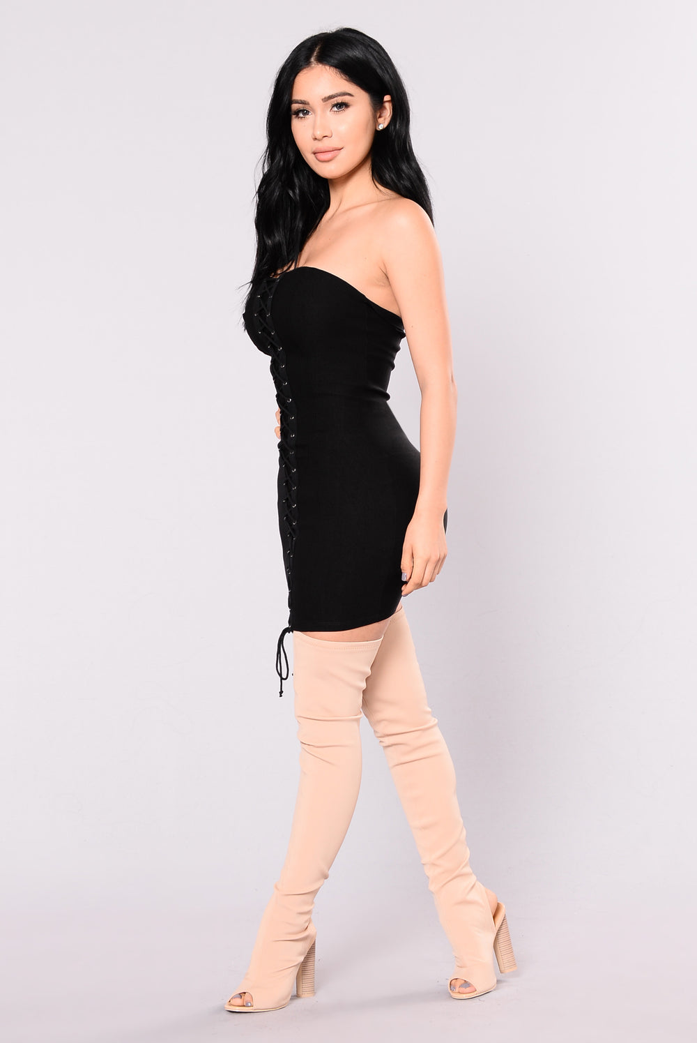 Agnes Lace Up Dress - Black