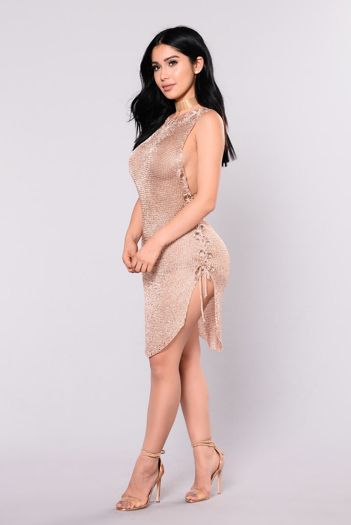 Ashvini Metallica Dress - Rose Gold