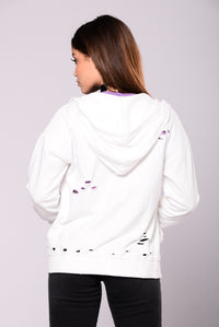 Doing Too Much Distressed Hoodie - White