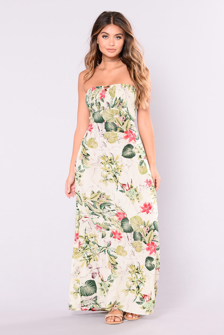 Barcelona Babe Maxi Dress - Ivory/Floral