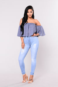 Deep In Myself Top - Denim/White