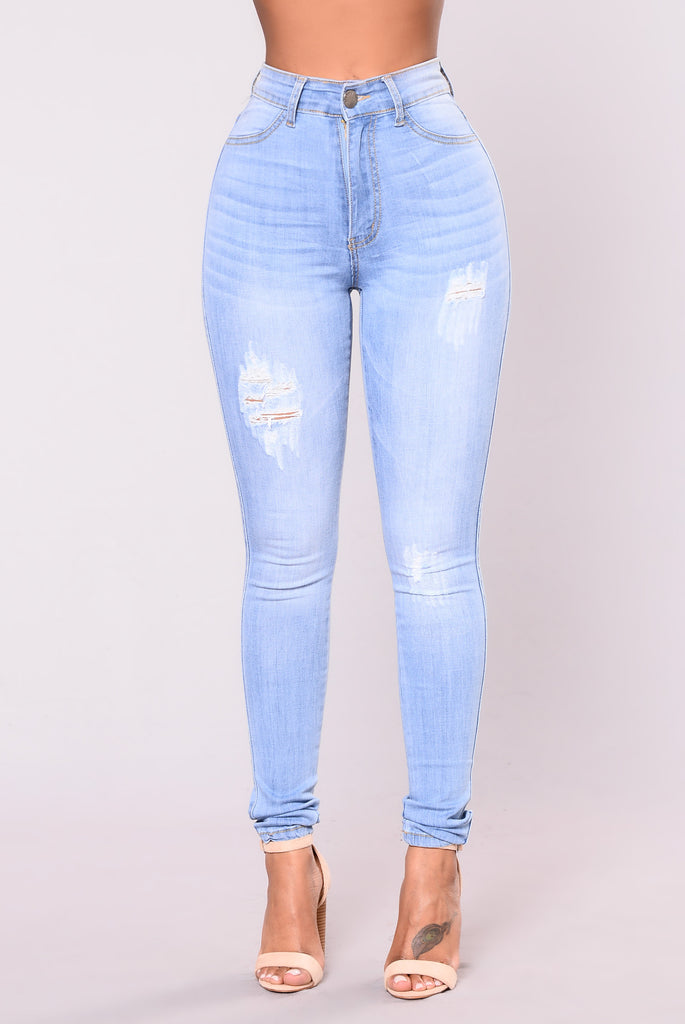 Double Text Jeans - Light Wash