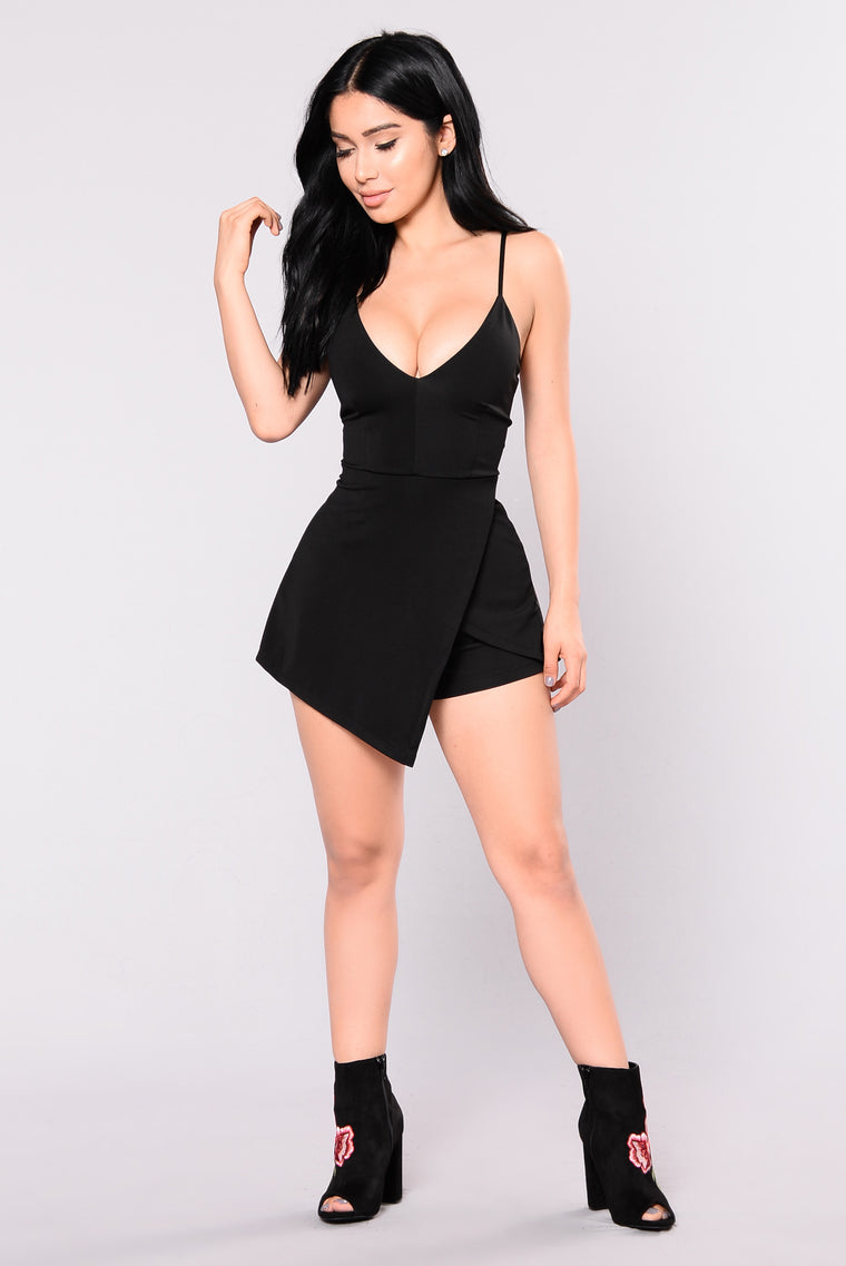 Adele Envelope Romper - Black