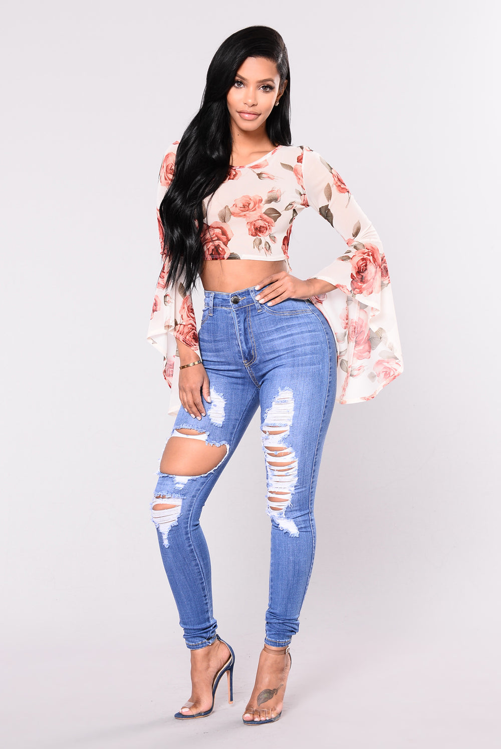 Ring My Bell Top - Ivory/Floral