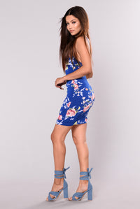 Dina Floral Dress - Royal