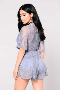 Set Our Love On Fire Romper - Dusty Blue