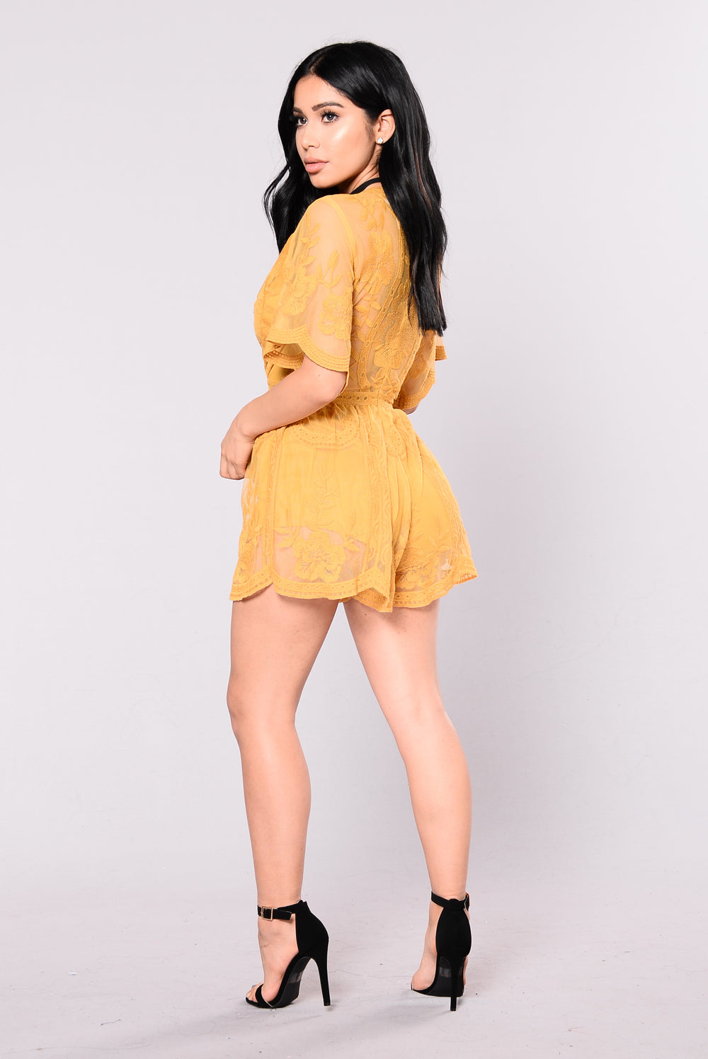 Set Our Love On Fire Romper - Yellow