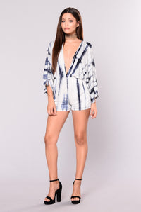 By The Seashore Tie Dye Romper - Navy
