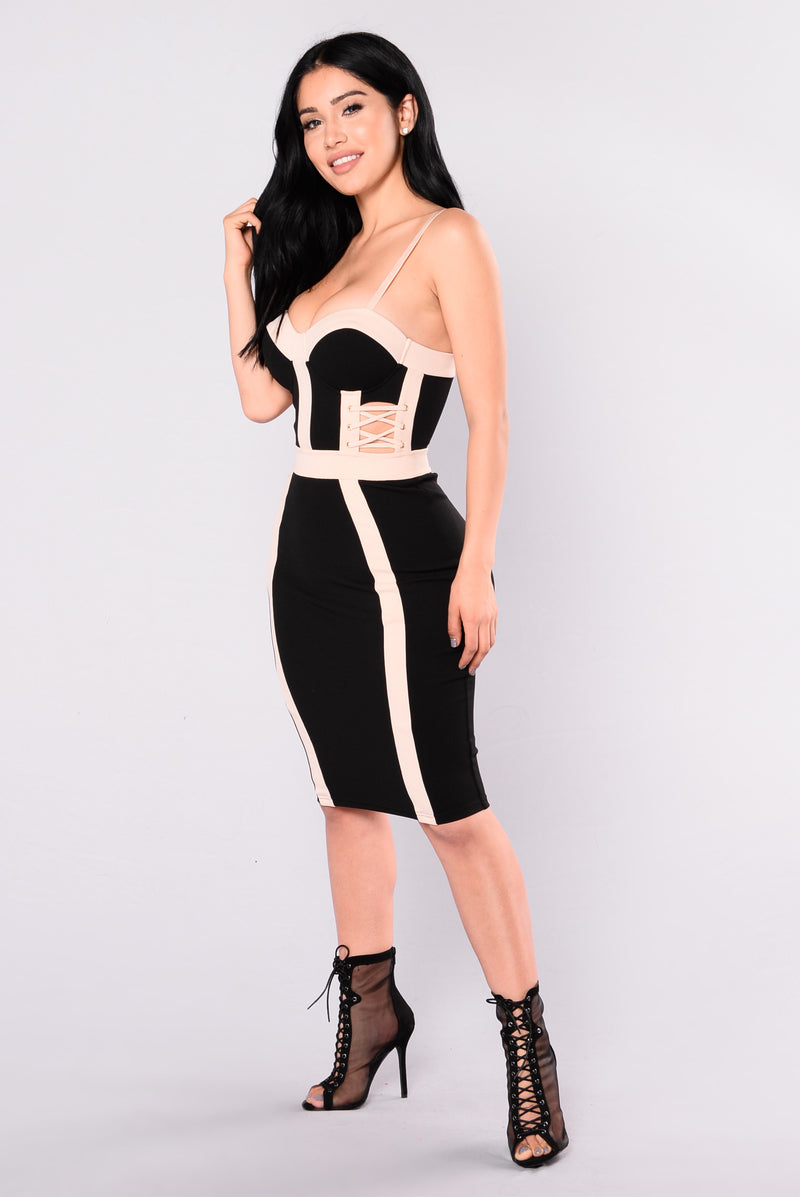 Don't Wait Up Dress - Black/Nude