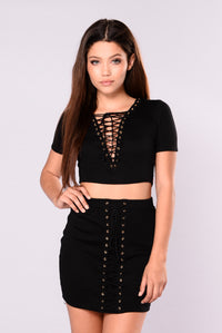 Wild Side Lace Up Top - Black