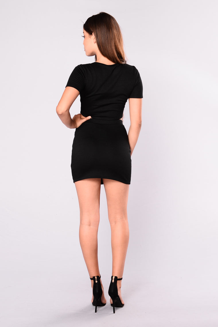 Wild Side Lace Up Skirt - Black
