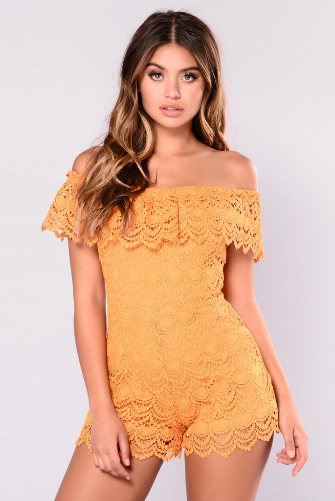 Try Harder For My Love Romper - Mustard