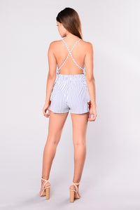 Take You Places Rompers - Blue/White