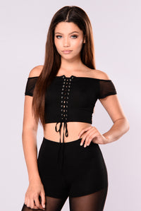 Patti Mesh Crop Top - Black Angle 1
