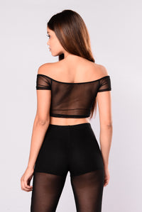 Patti Mesh Crop Top - Black Angle 2