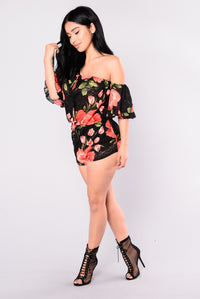 Raquel Rose Romper - Black