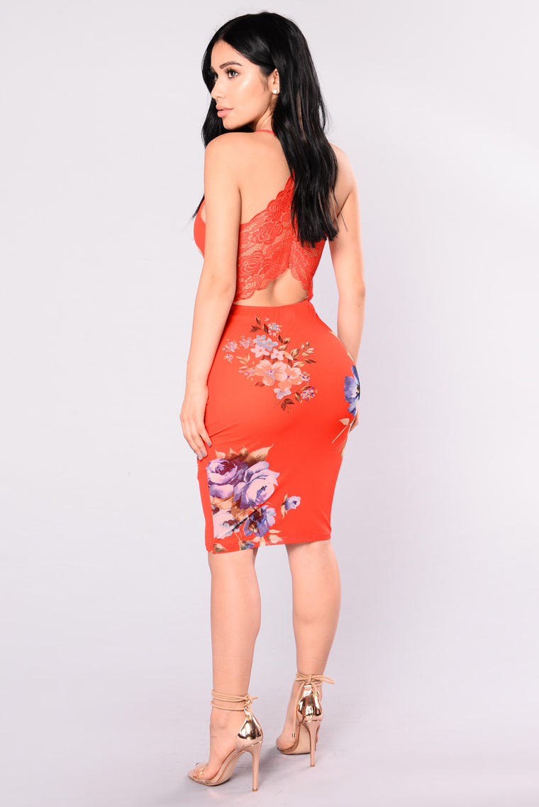 China Doll Floral Dress - Tangerine