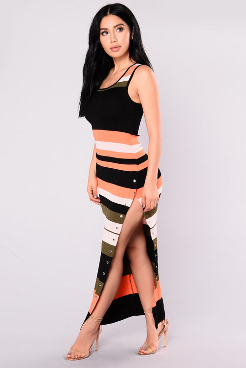 Alanna Stripe Dress - Orange/Multi