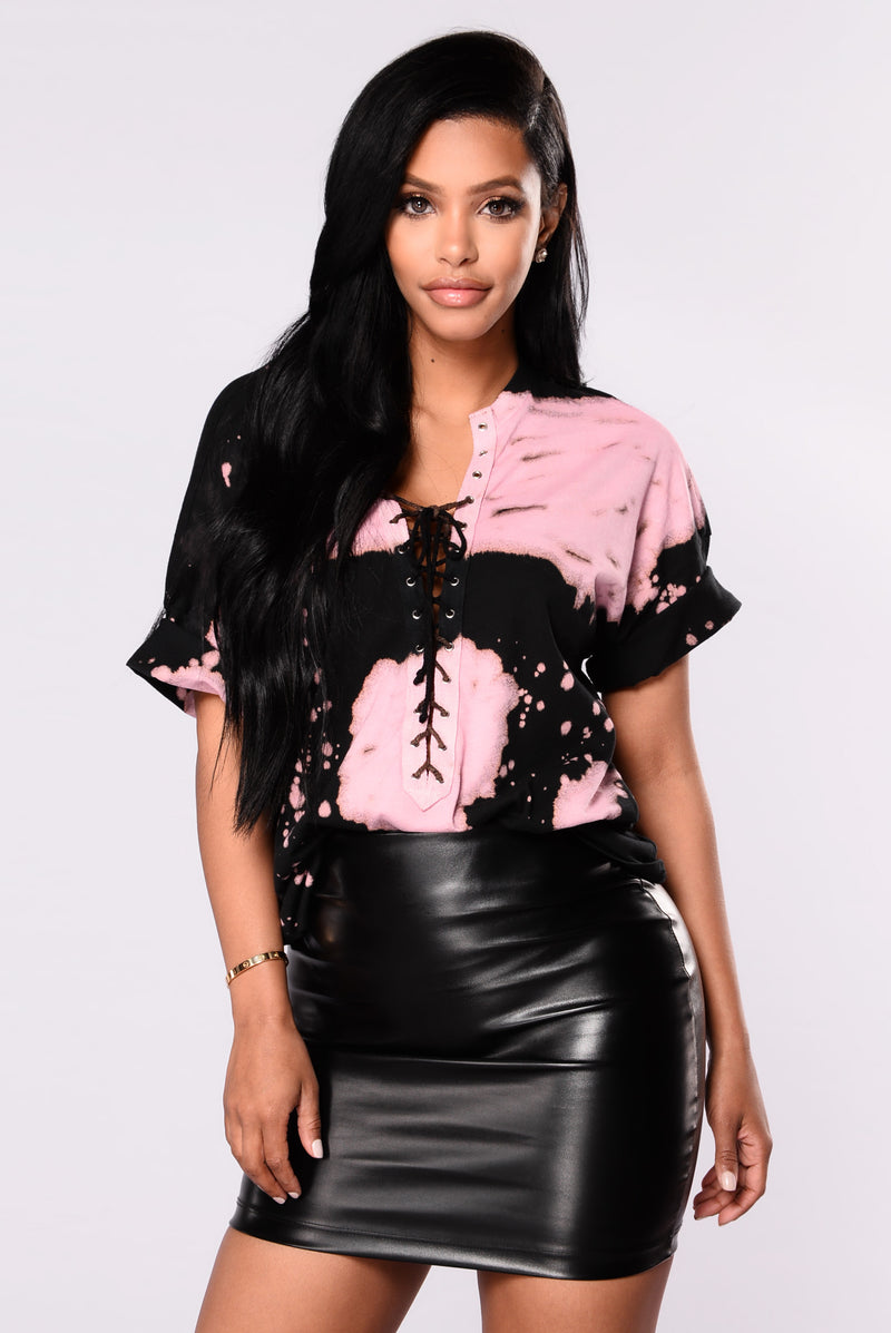 Just One Of Dem Days Tees - Black/Pink
