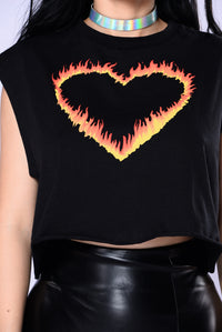 Set My Love On Fire Top - Black
