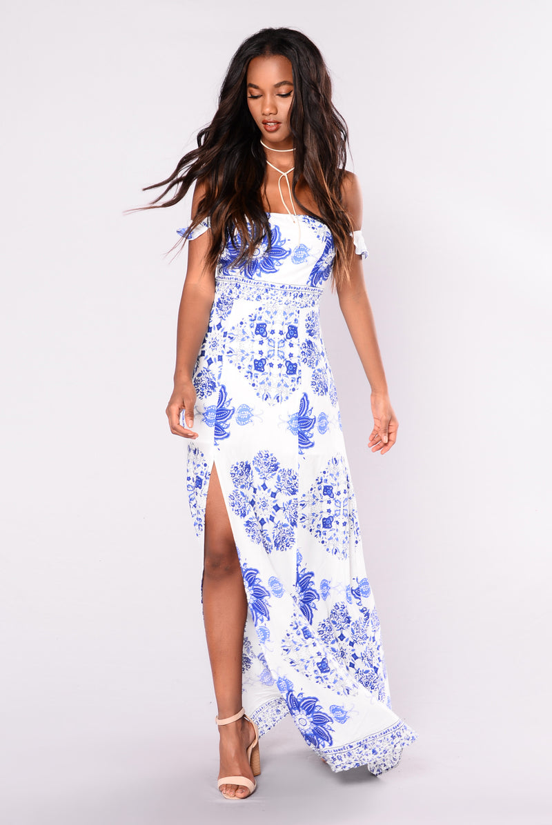 Sinna Slit Dress - White/Royal