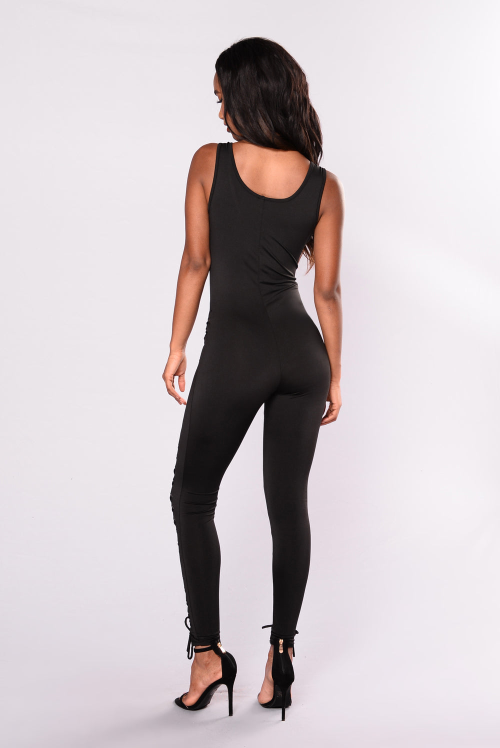 TGIF Lace Up Jumpsuit - Black
