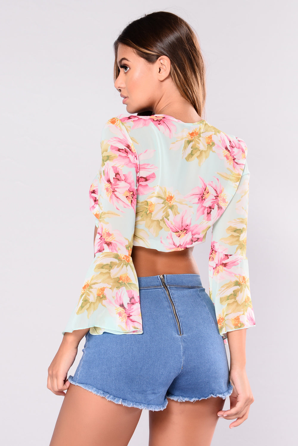 Mila Floral Top - Mint