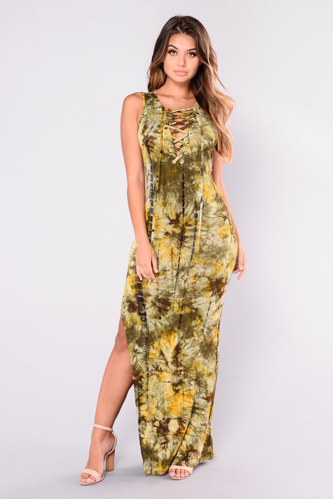 Deserted Tie Dye Maxi Dress - Olive