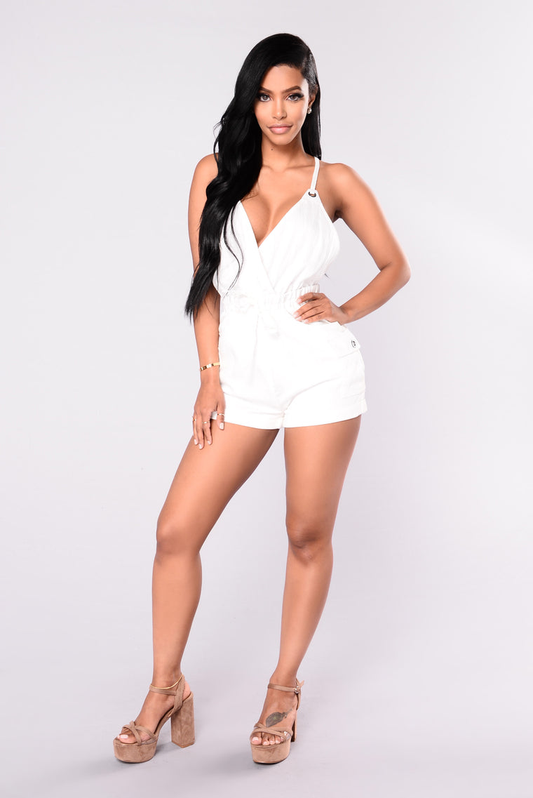 Want Your Love Romper - White