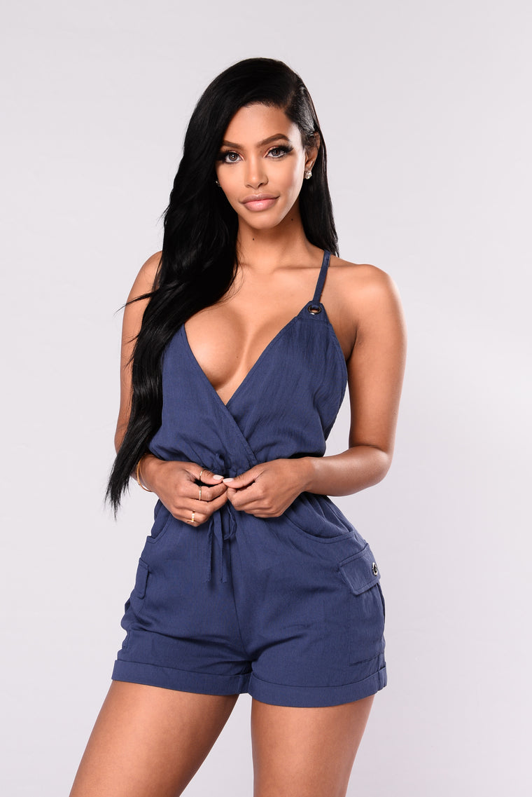 Want Your Love Romper - Navy