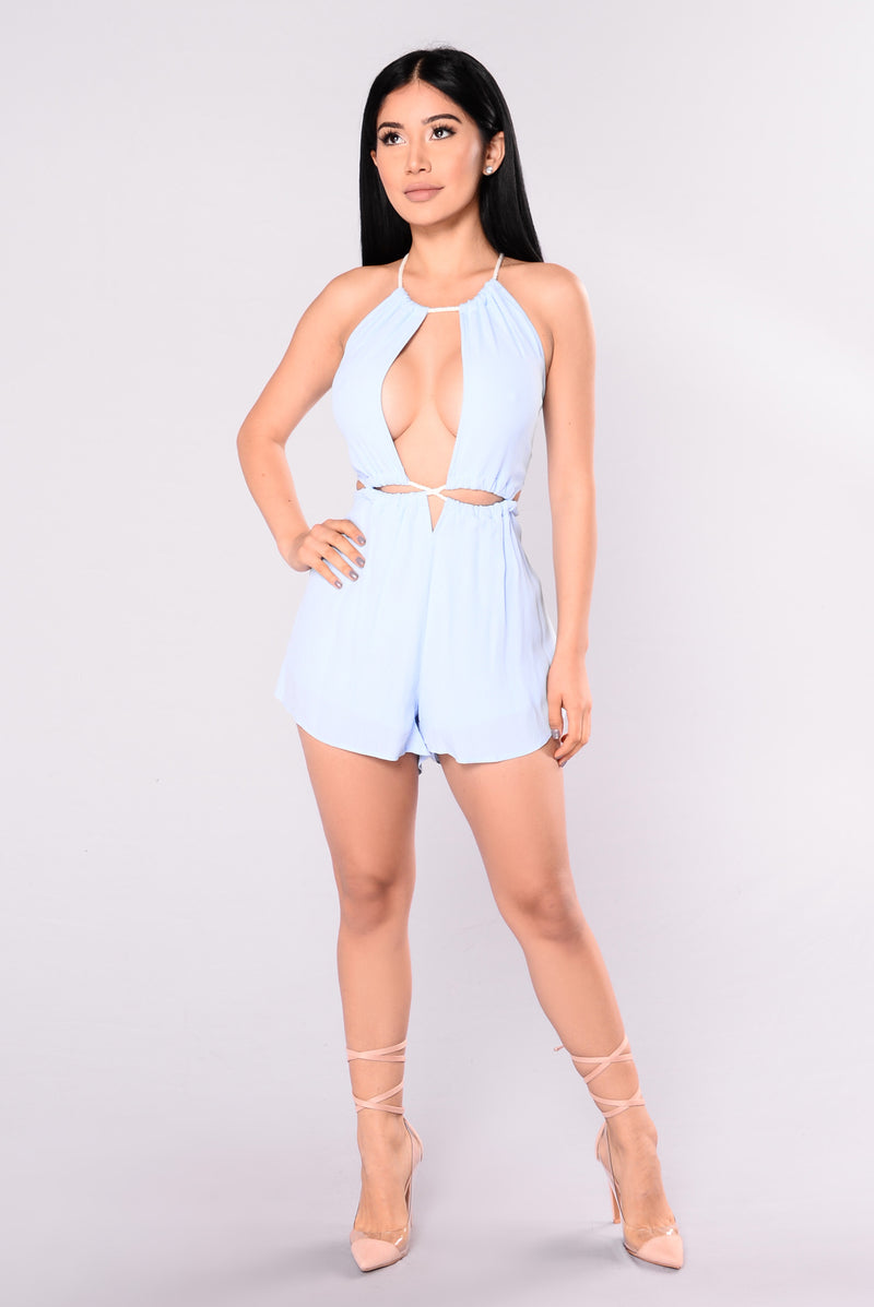 Rope Me In Romper - Light Blue