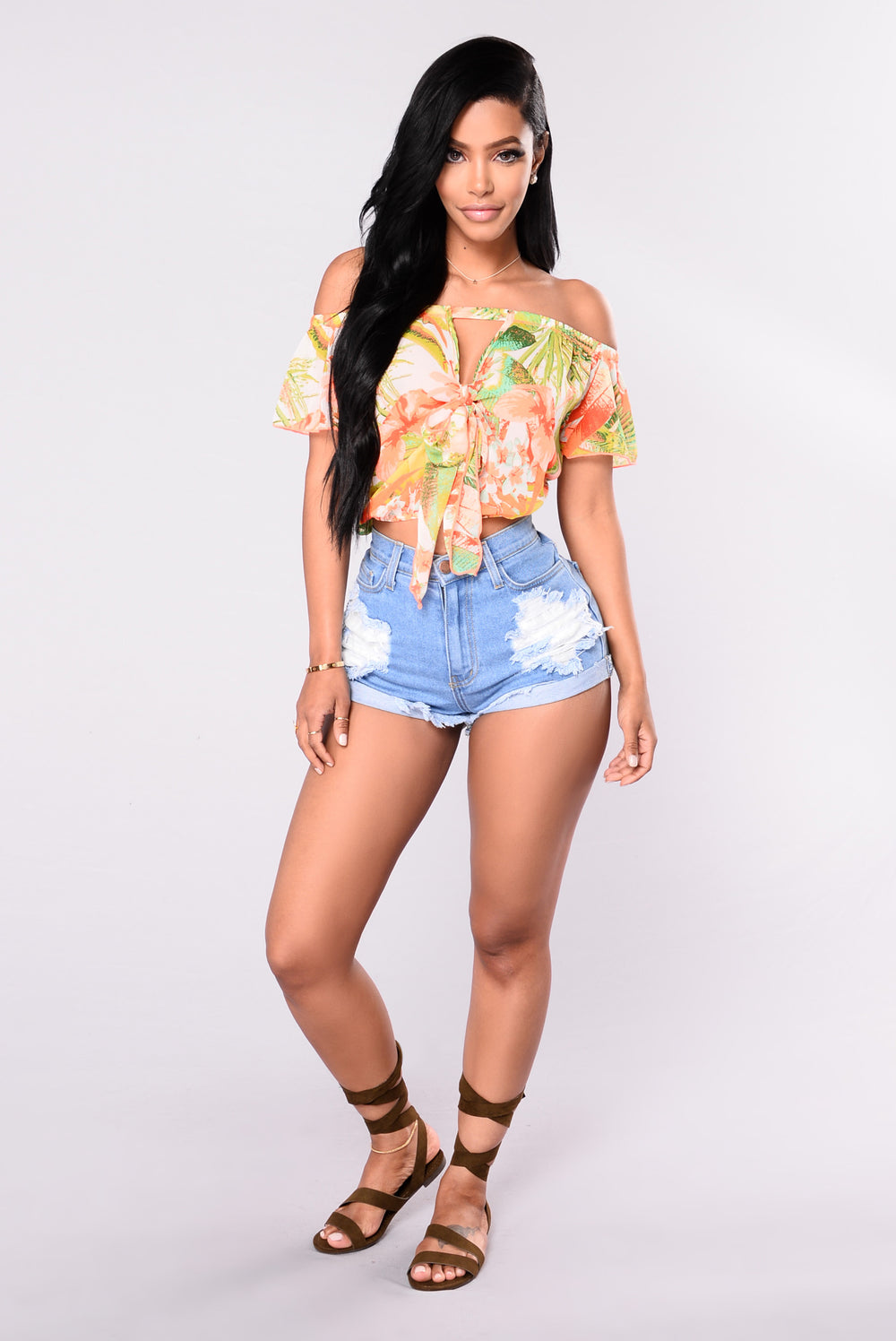 Day Bay Floral Top - Neon Orange