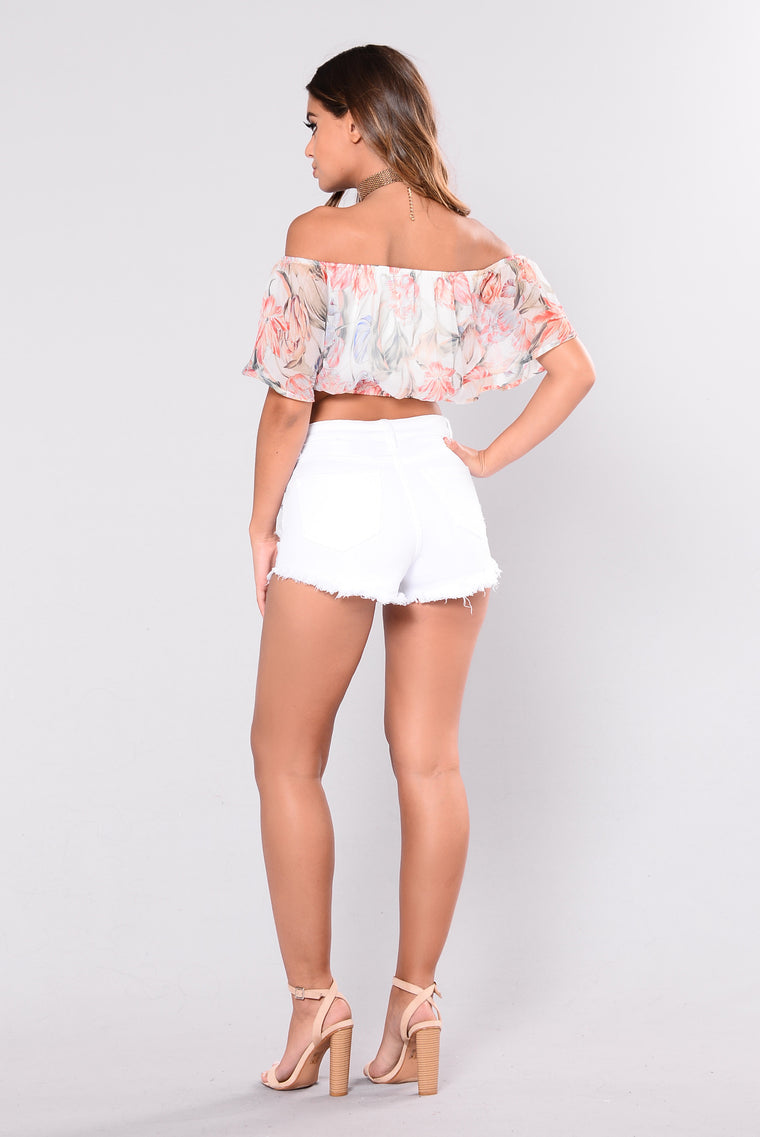 Put Me First Floral Top - White