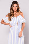 Casey Dress - Ivory/Blue