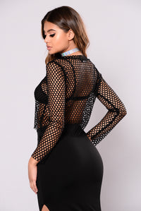 No Secrets Fishnet Top - Black
