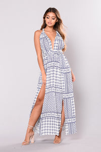 Letty Maxi Dress - White/Navy