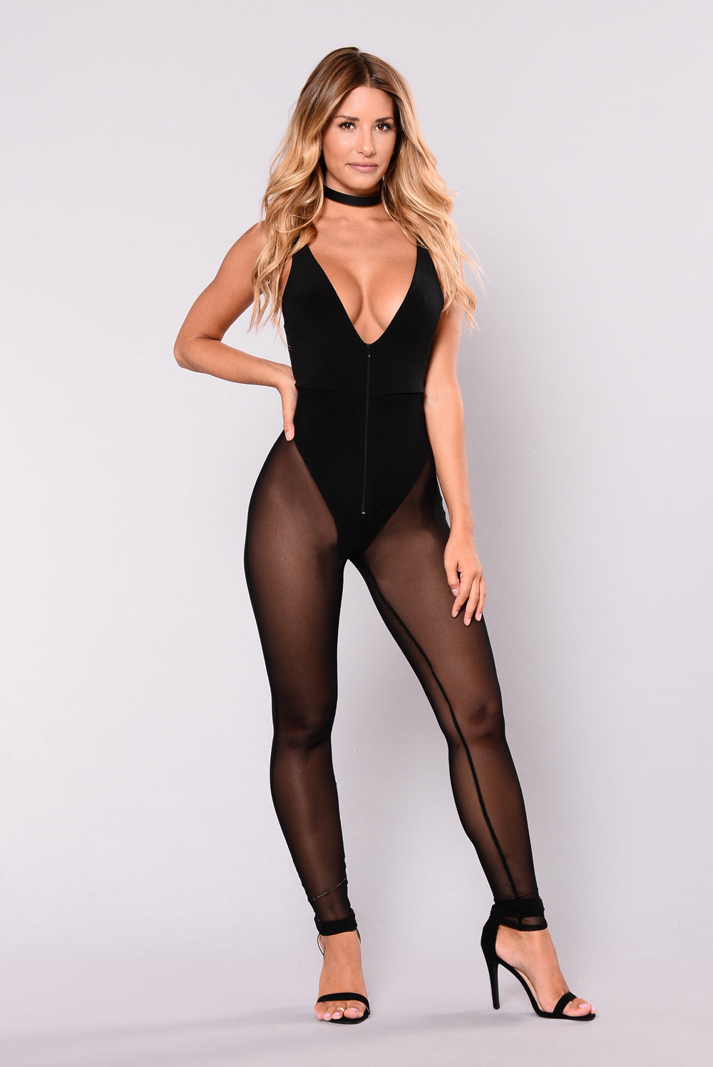 Caris Mesh Jumpsuit - Black