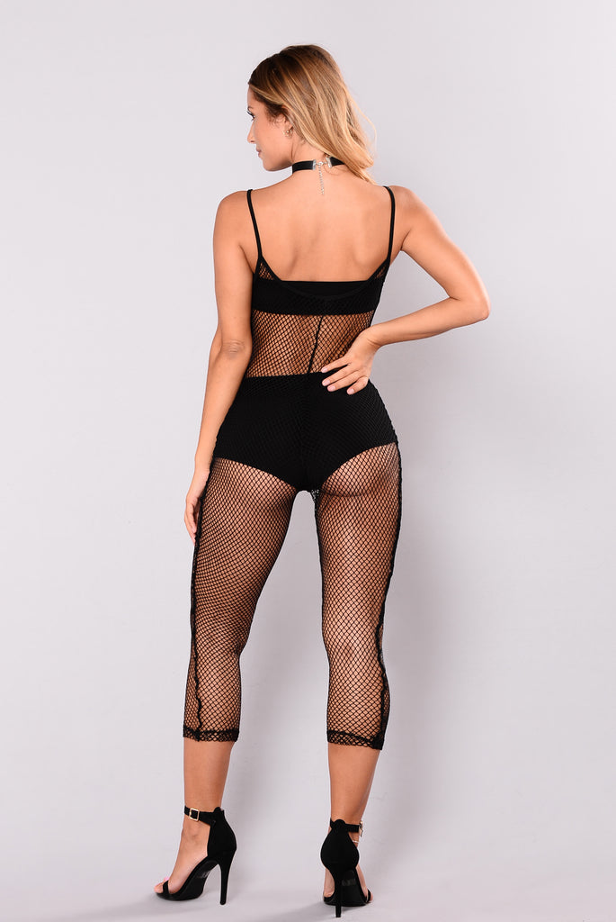 Shaina Fishnet Jumpsuit - Black