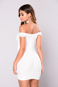 Sippin Strawberry Champagne Dress - White