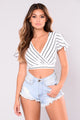 No Evidence Striped Top - White