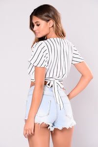No Evidence Striped Top - White Angle 2