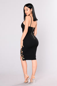 Anniversary Embroidered Dress - Black