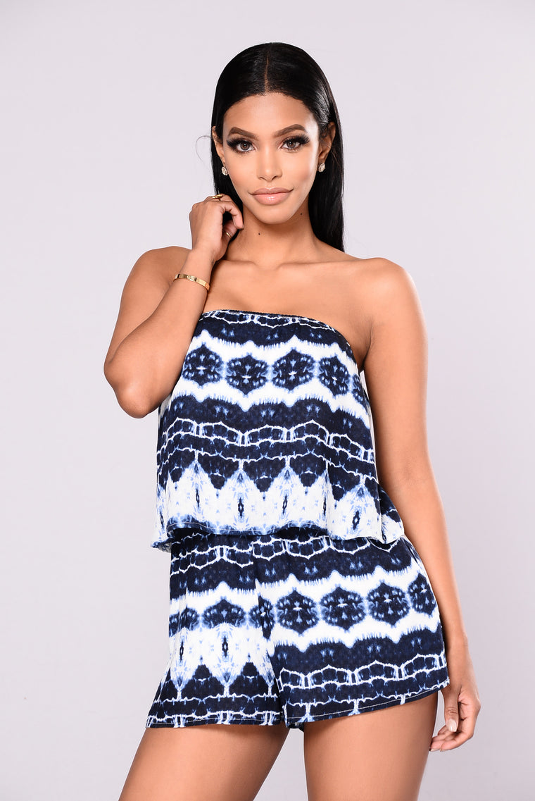 Losing Track Of Time Romper - Navy