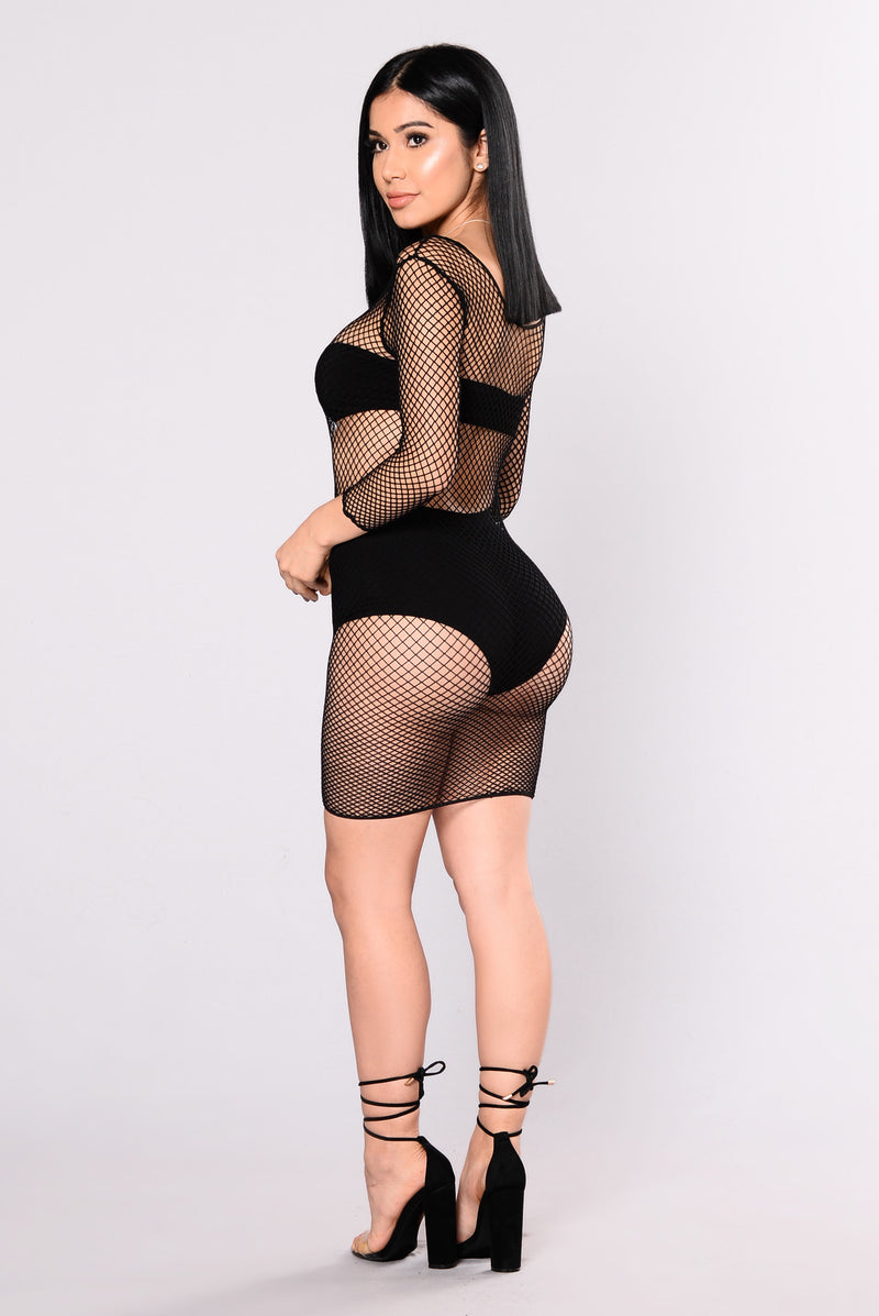 Ready Or Not Fishnet Stocking Dress - Black