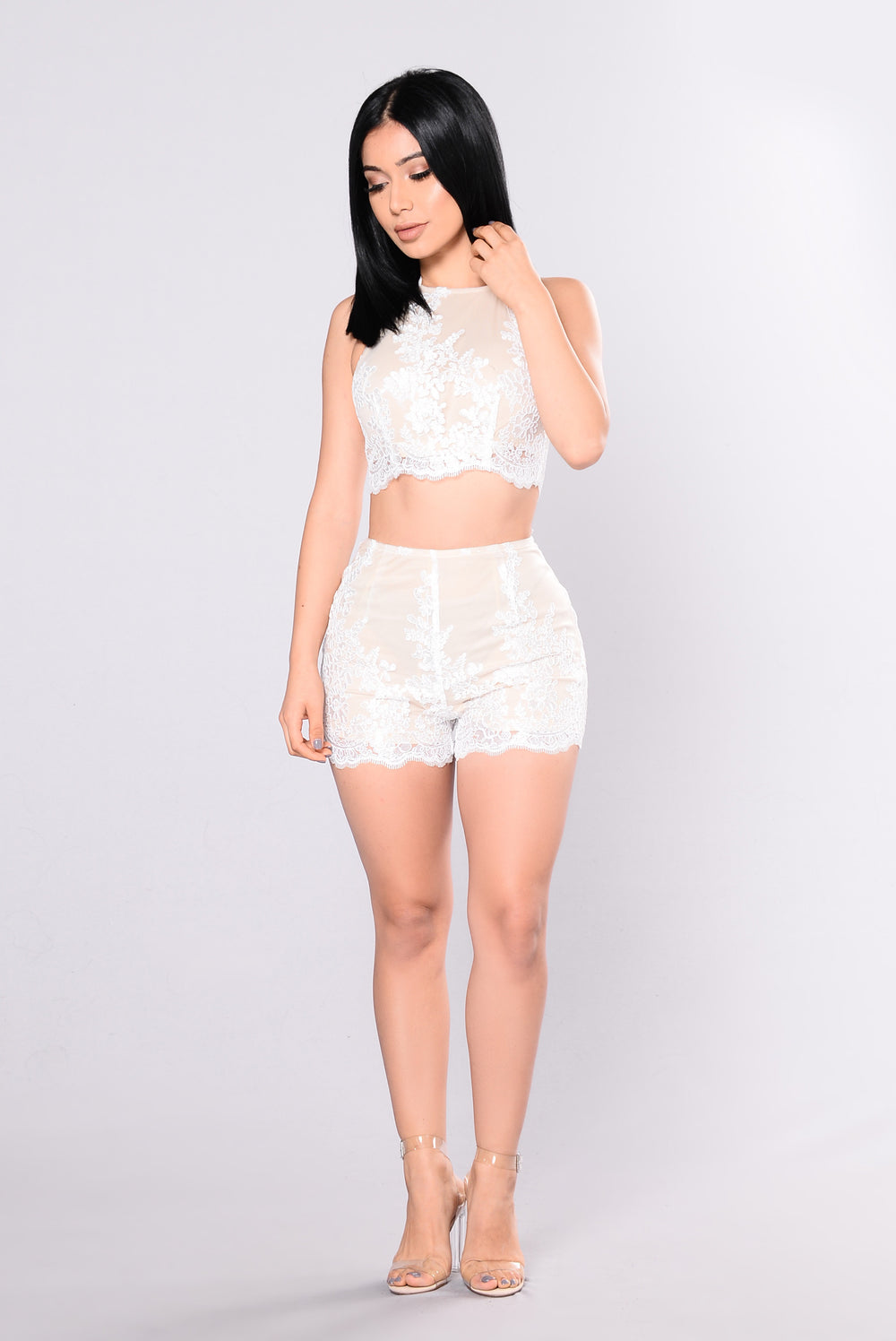 Loyalty To Embroidery Set - White/Nude