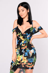 See You In Paradise Floral Dress - Black